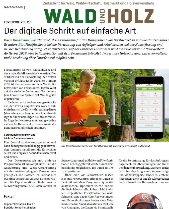 ForstControl Artikel Wald und Holz